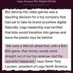 RT @mgsiegler: What Lego initially feared (digital) ended up saving and actually supercharging the company.  http://t.co/7SIolqOOC8