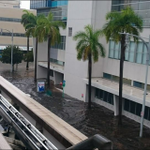 A different view of flooding today in downtown #Miami from the Metromover. (Source unknown.) #flwx #SoFla http://t.co/auAr69WoRD
