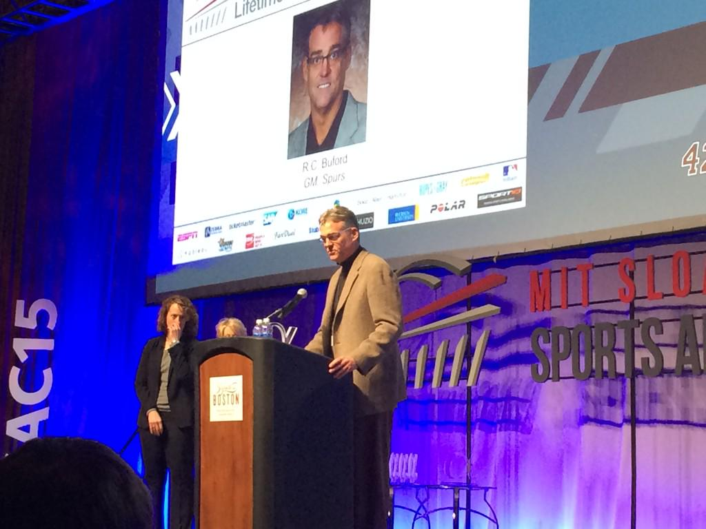 Lifetime achievement award goes to RC Buford GM Spurs congrats!!! #SSAC15 http://t.co/Ykj5gqdUQF
