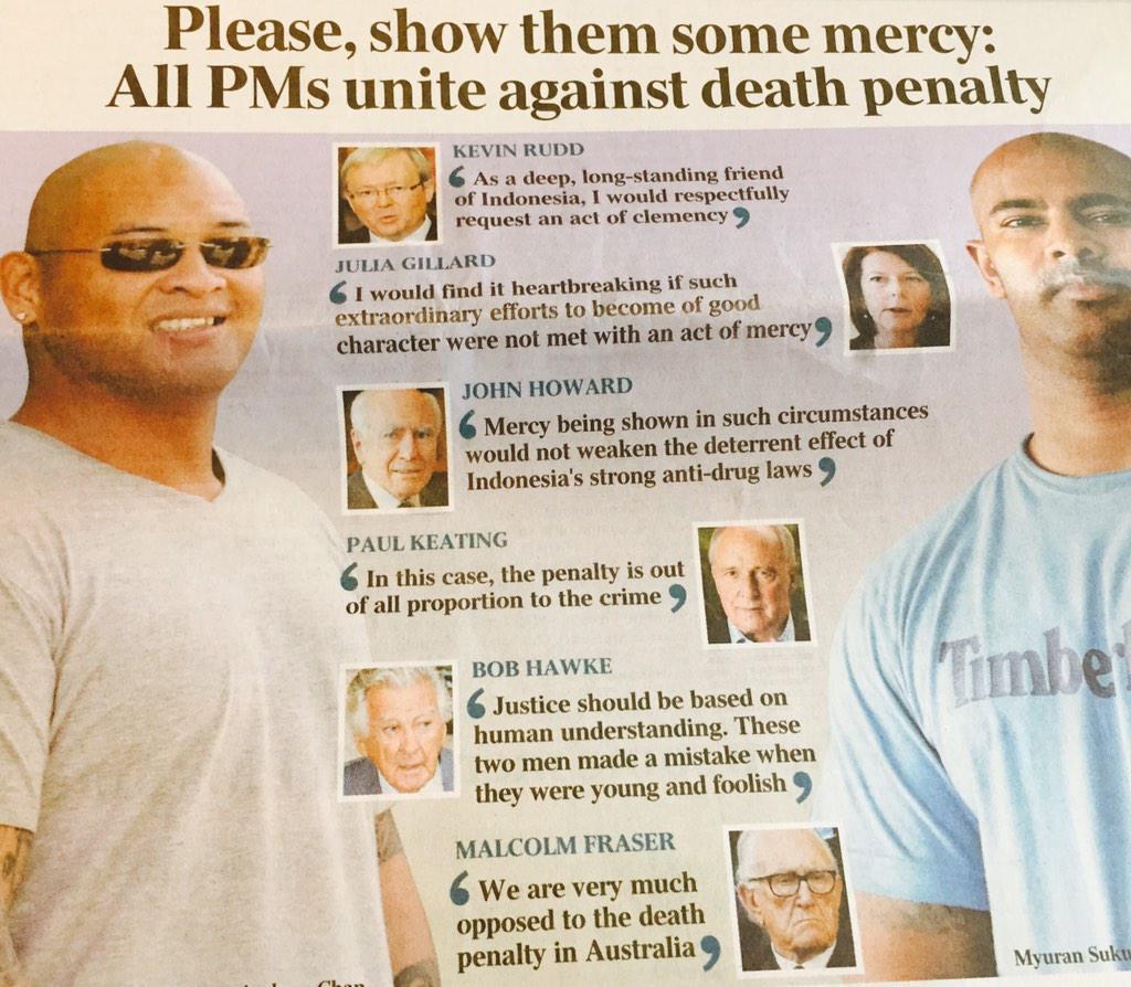 All of Australia's living former PMs unite to appeal for mercy. http://t.co/9V7lrZy6hZ