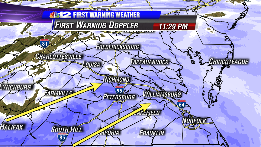 Enhanced radar echos (between arrows) could = heavier snow rates heading to areas just south of RVA http://t.co/3jJ4ojyChA