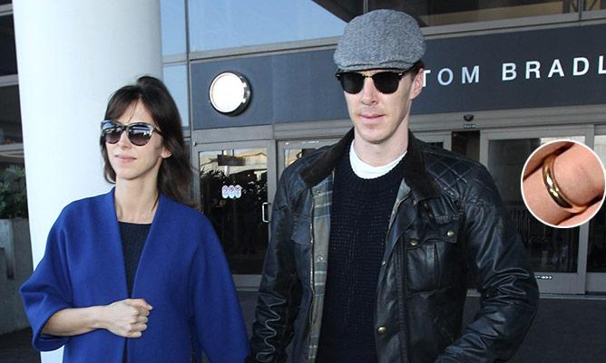Benedict Cumberbatch and new wife Sophie Hunter arrive in Los Angeles ahead of Oscars 2015