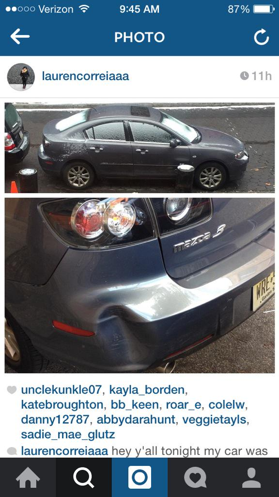 Some trash stole our girl Lauren's beloved Mazda. Please look out for her car + RT, please! http://t.co/Uaj9LPXVo6
