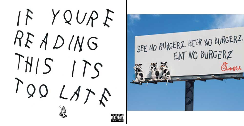 i'm not entirely convinced that the chick fil-a cows didnt design the new @Drake record http://t.co/C2OCatAaeW