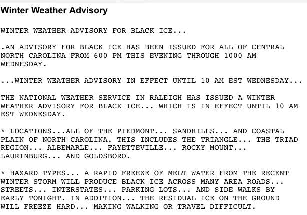 .@NWSRaleigh issues winter weather advisory for black ice; covers central NC starting at 6 pm thru 10 am Weds #ncwx http://t.co/9CfDbjKU5Z