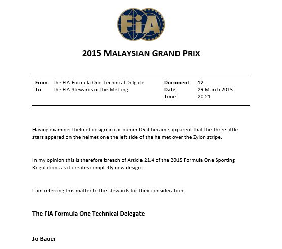 Jo Bauer's note from 2015 Malaysian Grand Prix #F1 #newrules http://t.co/3RDTWXLjA5