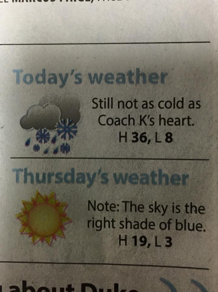 Today's weather report from The Daily Tar Heel. http://t.co/iUo4Ru9KWg