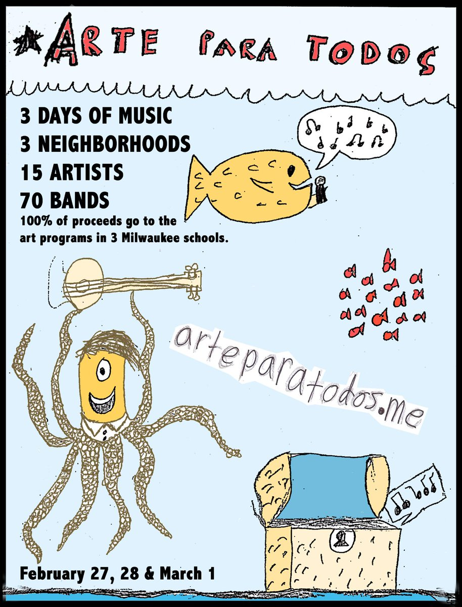 #ArteParaTodos next weekend! Don't miss #Milwaukee's 3 day local music series & help raise $ for school art programs! http://t.co/5gi2VEnpTe