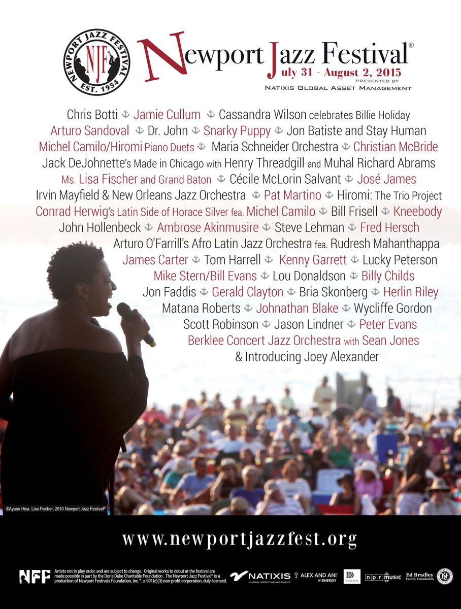 The complete lineup for the 2015 Newport Jazz Festival! Get your festival hats on! #NJF2015 #newportjazz #jazz http://t.co/rLr1fe4mFk