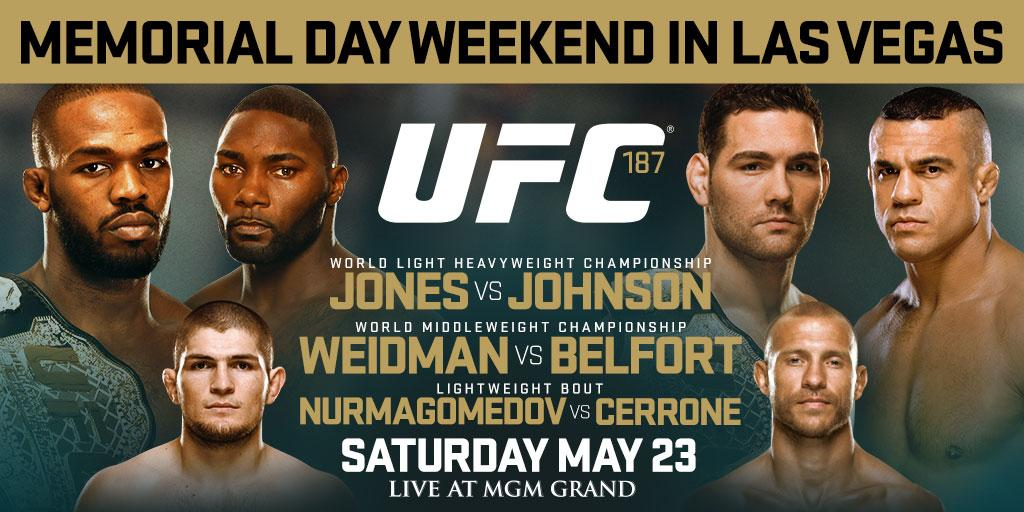 AMAZING RT @ufc It's going down Memorial Day weekend! #UFC187 May 23rd at @MGMGrand!  Story: http://t.co/wGB90fG1Ei http://t.co/Ez7kCbNnZU