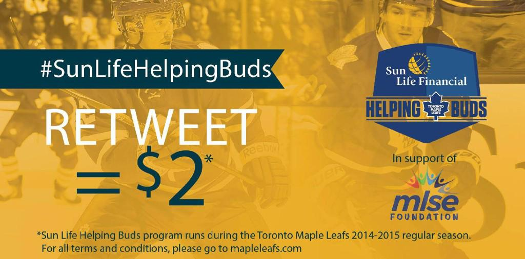 Tweet/RT #SunLifeHelpingBuds & @SunLifeCA donates $2 to MLSE Foundation to help prevent youth type 2 diabetes. http://t.co/vZTsUlV4nL