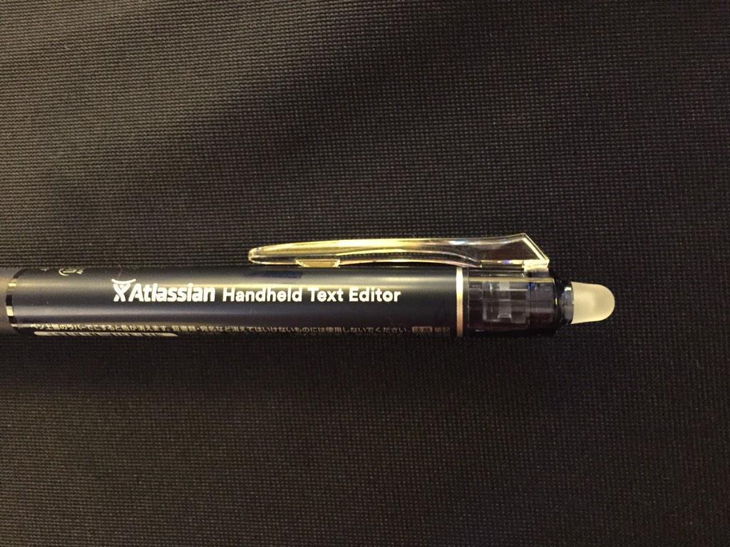 アトラシアン新製品「Handheld Text Editor」リリース!携帯できる小型テキストエディターなので場所を選ばずに使え、フォントの柔軟性も高いです。ブースで差し上げています!  #ただのボールペン #devsumi http://t.co/KH3ot7eK9Y