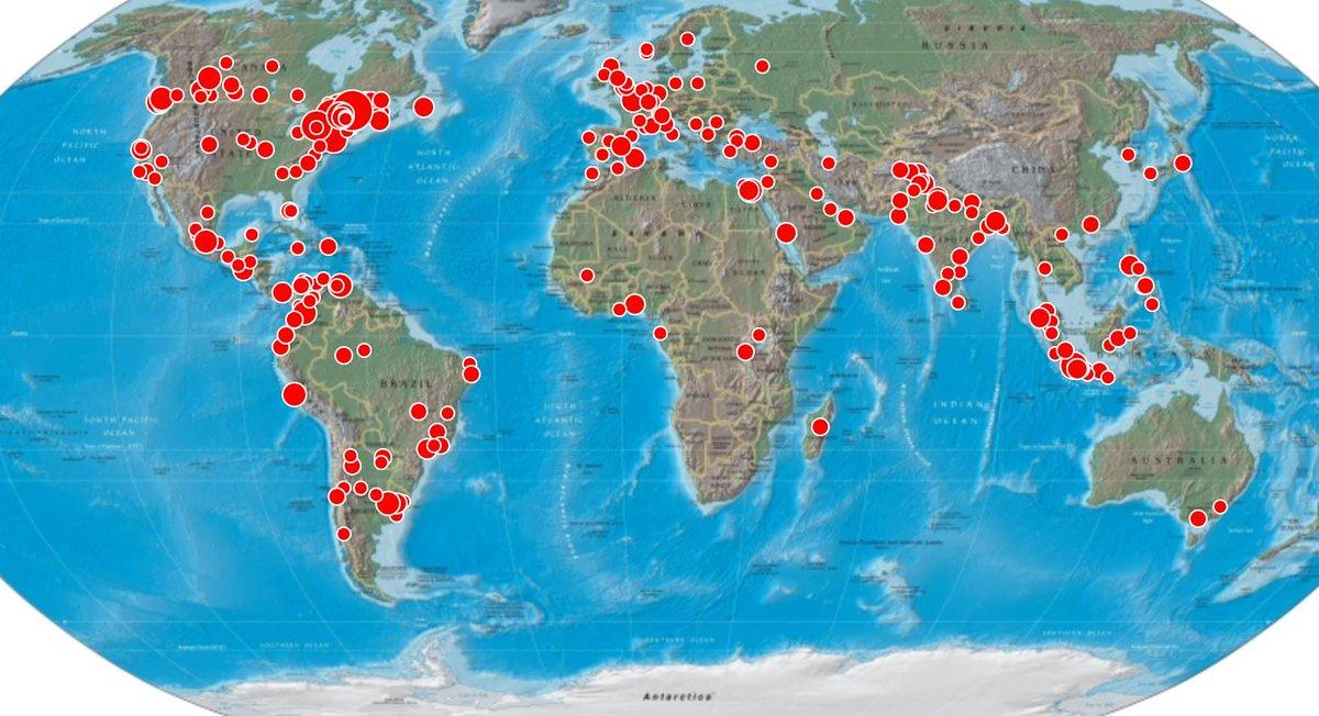 Ventilation géographique sur Twitter des propos d'Yves Bolduc. Portée potentielle auprès de 11,8 millions d'abonnés. http://t.co/CethIbxUCg