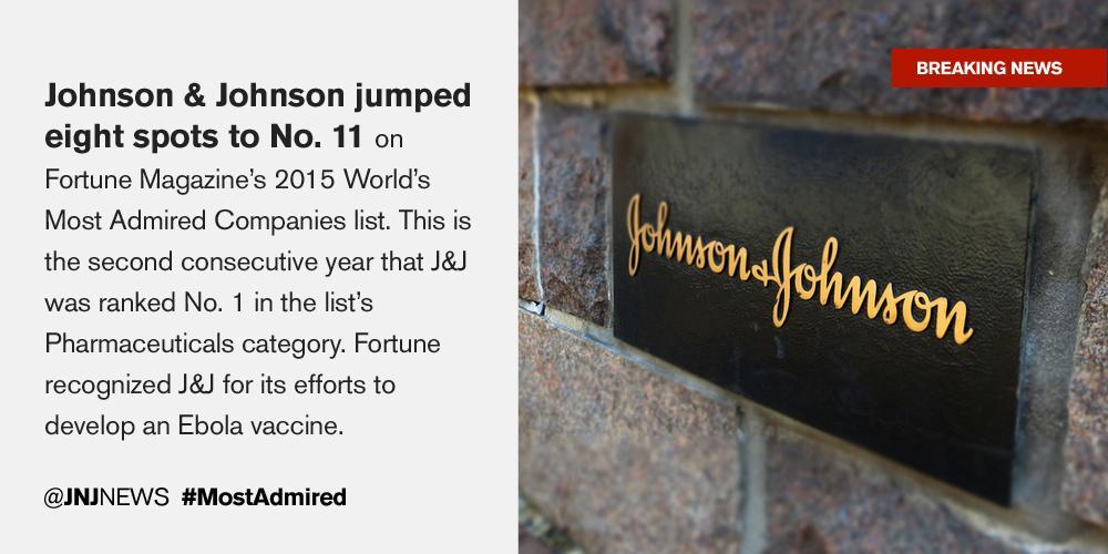 Just Announced: #JNJ makes @FortuneMagazine's #MostAdmired list: http://t.co/cFavpDrJMj http://t.co/1ABO8QkuE9