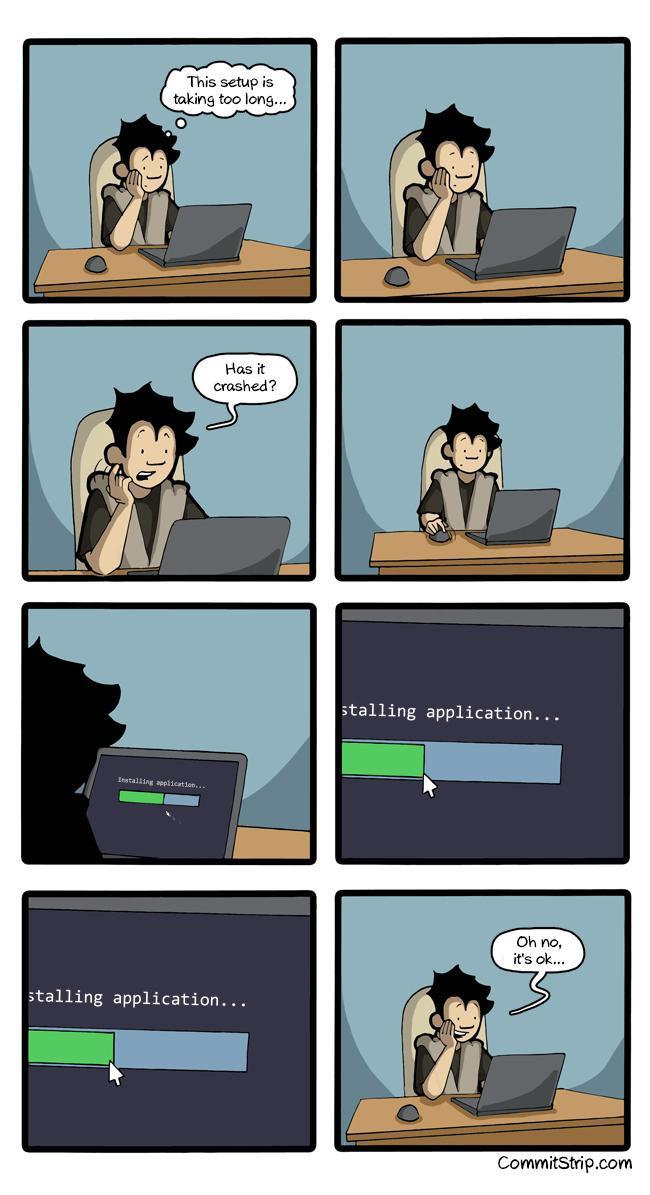 进度条控…RT @kDolphin: 我也这么干。RT @soulhacker: +me RT @CommitStrip: When I install a software  http://t.co/wNevjBZnnP http://t.co/ZJGBnd8Row