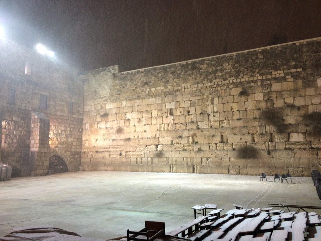 Shalom from the snowy @TheKotel (Western Wall) in #Jerusalem! http://t.co/5X1GYnzpZa
