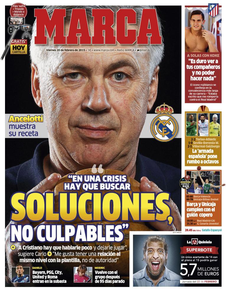 """#LaPortada """"En una crisis hay que buscar soluciones, no culpables"""" http://t.co/w9vSgwGoxr"""