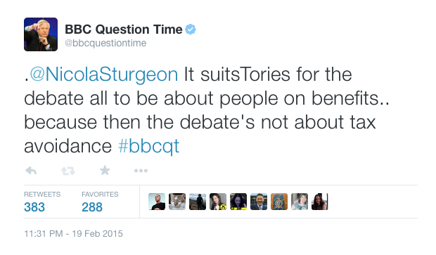 Our most retweeted comment came from @NicolaSturgeon : catch up on @BBCiPlayer http://t.co/pbCX7gELdO #bbcqt http://t.co/NGpBInyHbt
