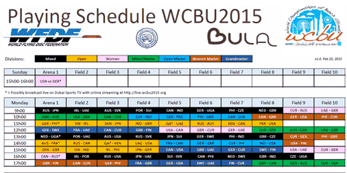 The #WCBU2015 playing schedule has been released: http://t.co/N1XnAzdycs. #beachultimate #wfdf http://t.co/efhPMCEsB1 <a href='http://twitter.com/Beach_Ultimate/status/568743904356519936/photo/1' target='_blank'>See original &raquo;</a>