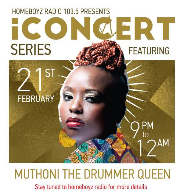 """""""Tomorrow, the fist digital concert #iConcertHBR live on @HomeboyzRadio ft @muthoniDQ  http://t.co/oaYcEwjwIK"""""""