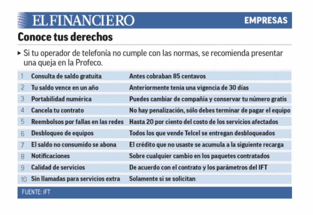 Derechos de los que tenemos teléfono celular con alguna compañía #PonteAlDía ccp @ExaFM http://t.co/3N5lUiLsBQ