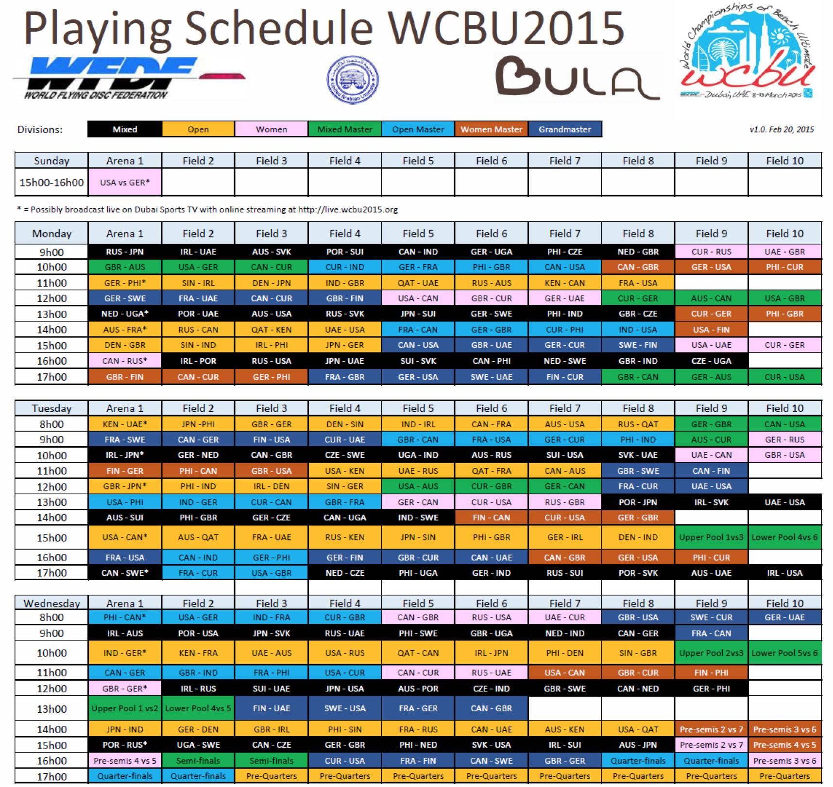 Looks like the @WCBU2015 schedule is up!  #BeachUltimate #Dubai #USAUSAUSA http://t.co/HNueR7kFyy <a href='http://twitter.com/Goose00Helton/status/568791377271631873/photo/1' target='_blank'>See original &raquo;</a>