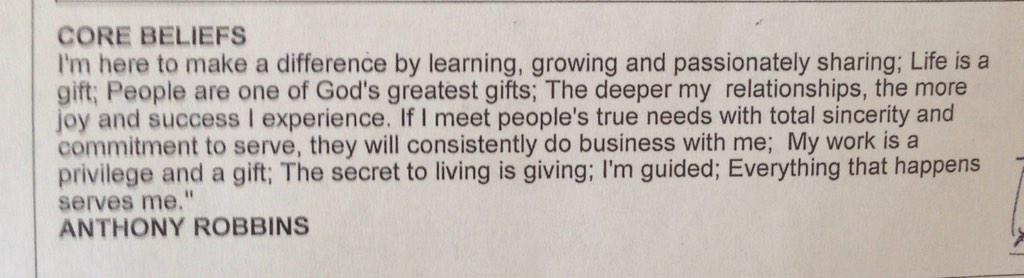 Core Beliefs - this quote from Tony Robbins has been in my #realestate snail mail newsletter for 124 issues #Realtor http://t.co/mmmCYTCjJJ
