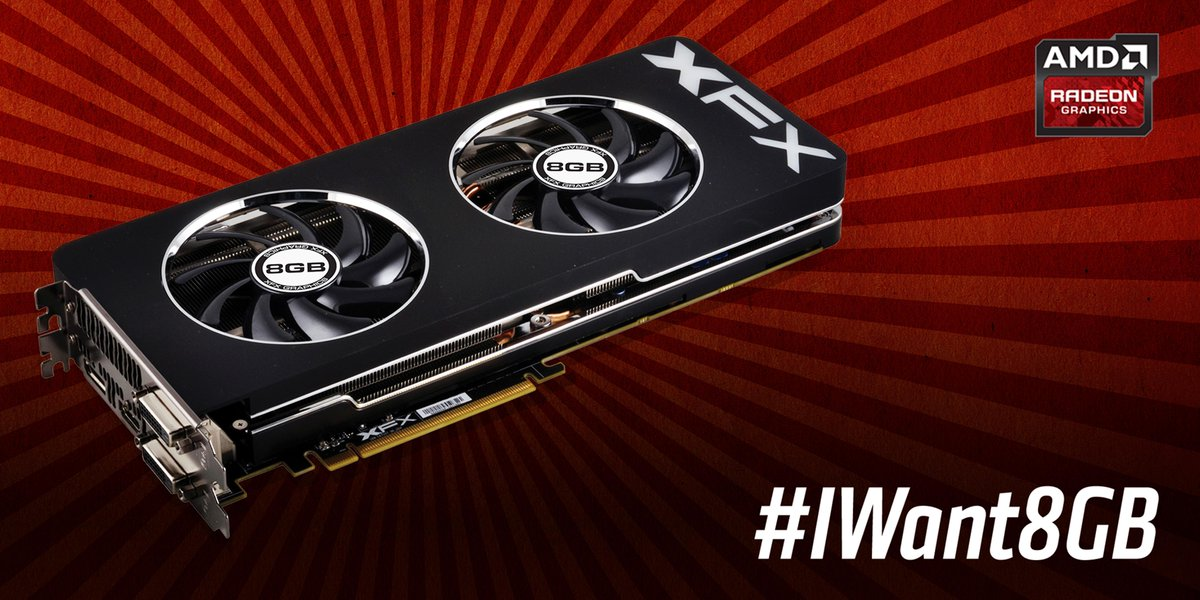 4GB is great, 8GB is twice as nice! Use #IWant8GB 2/21-2/22 to enter to win an 8GB R9 290x GPU http://t.co/YgLOgMHCVf http://t.co/JMhCHSWcHS