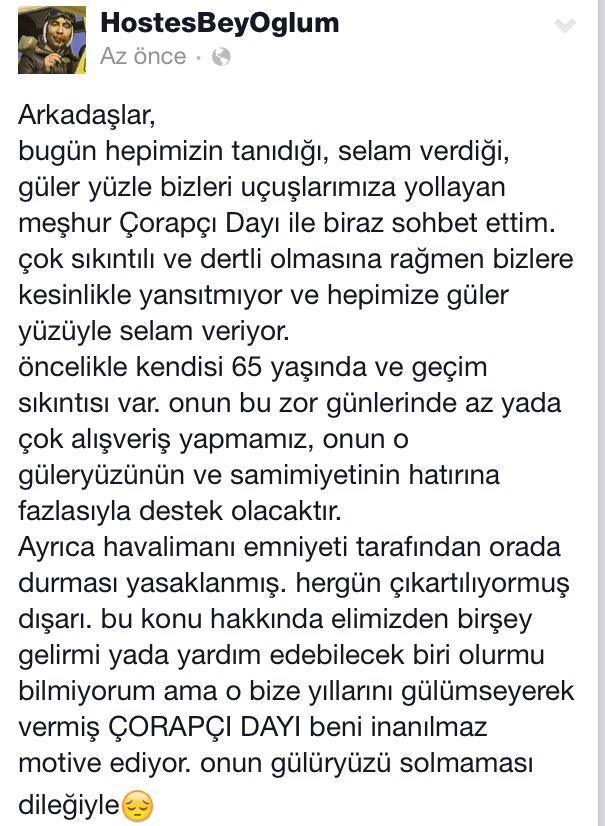 HostesBeyOğlum (@HostesBeyOglum): lütfen bu konu hakkında yardımcı olun ve o Çorapçı Dayının çalışabilmesi için izin verin. @TAVairports http://t.co/Uinh45ZWXz