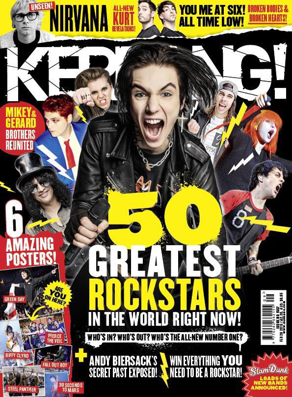 "BVB Army, check out the brand new ""Top 50 Rockstars"" issue of @KerrangMagazine available Wednesday!! http://t.co/o6plexlf7W"