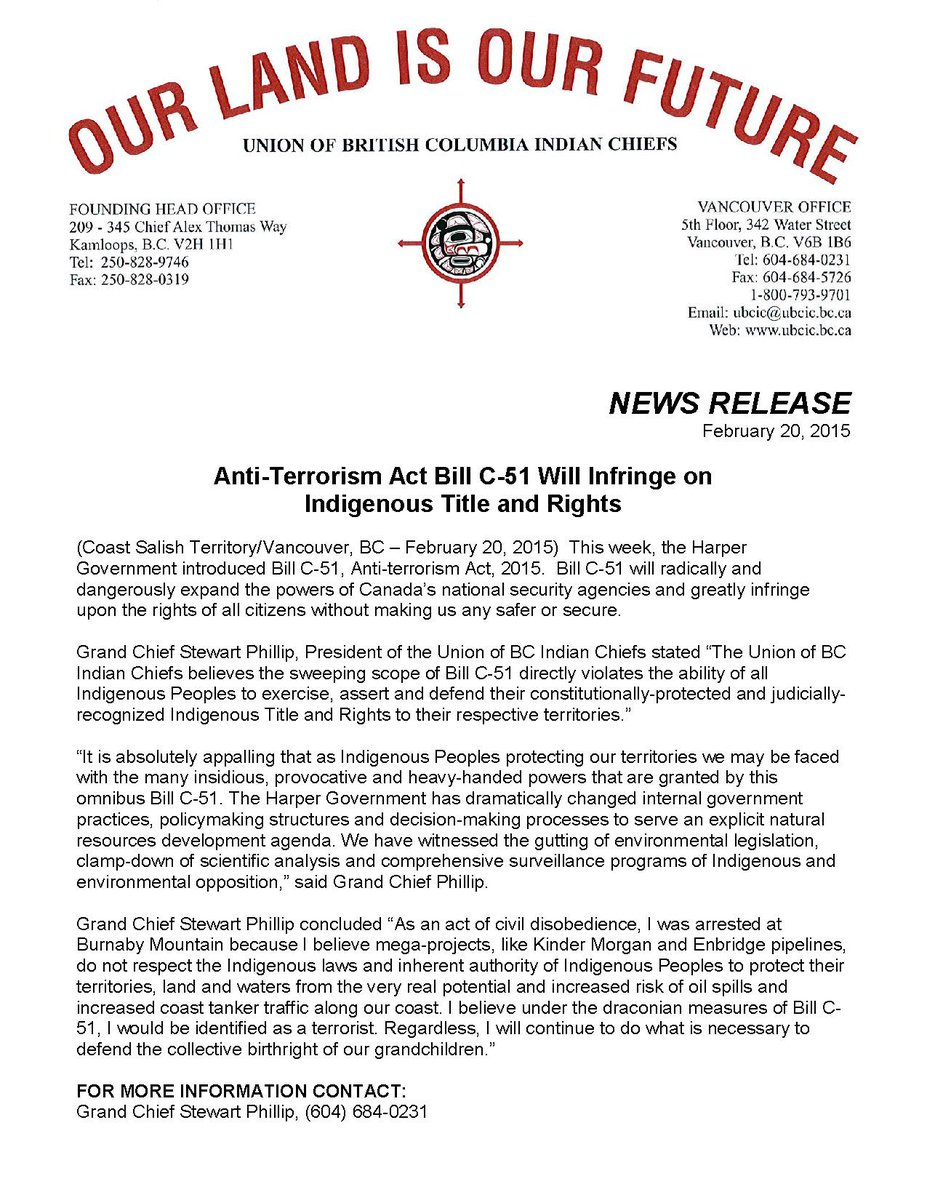 UBCIC News Release: Anti-Terrorism Act #BillC51 Will Infringe on #Indigenous Title & Rights http://t.co/00kddd4qSf http://t.co/gYQsaHUjk6