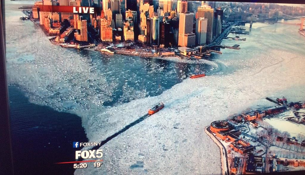 Great shot of the icy Hudson River from SkyFOX!