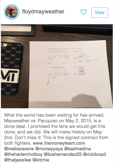 . @FloydMayweather just made it official on @shots http://t.co/fEccabbh8K