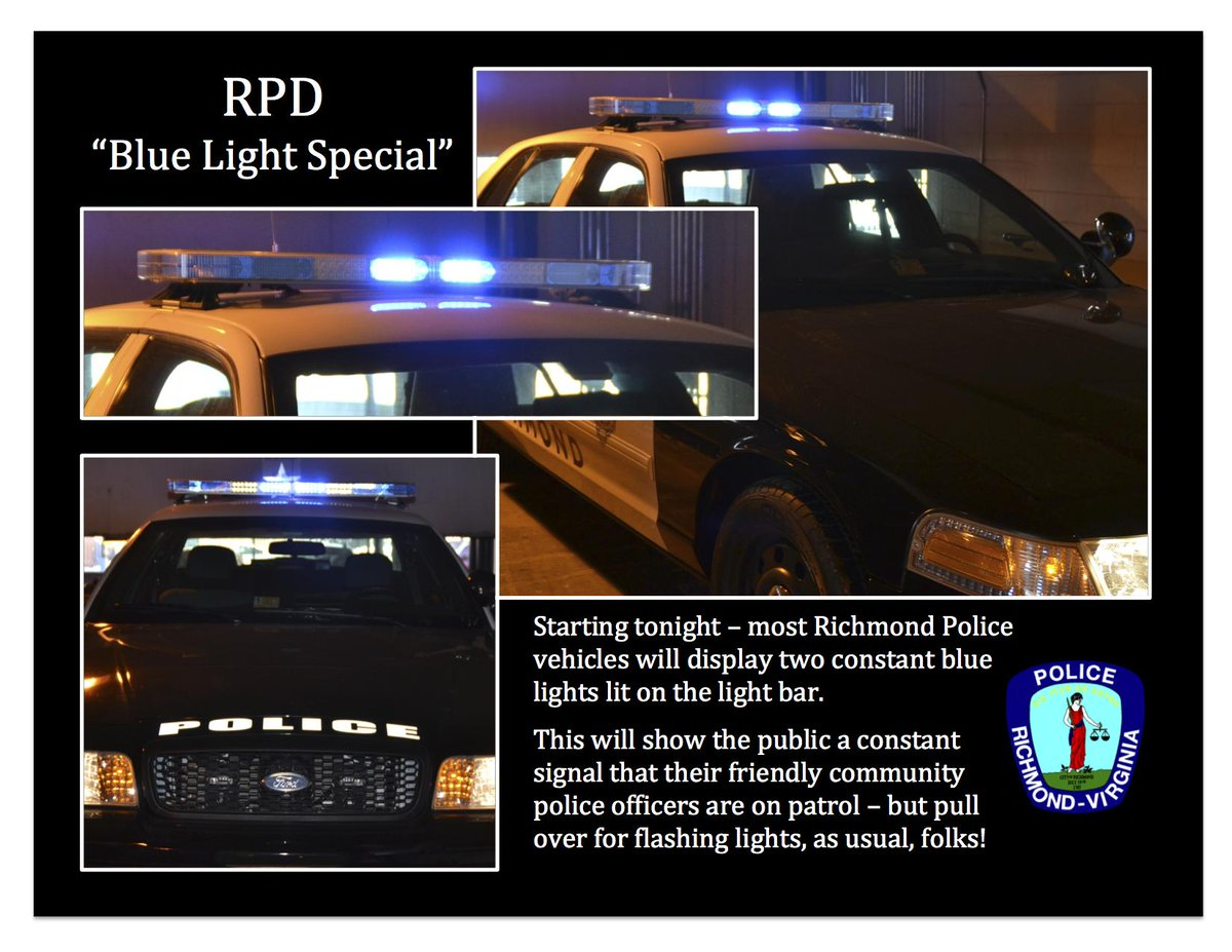 Announcement: Two blue lights...good! (Flashing blue lights remains not so good.) #rva http://t.co/igkUymhJjp
