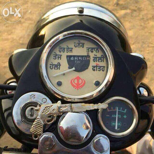 Only in Punjab! The speedometer of this bullet reads: Hauli, tej, hor tej, haner, tufaan, goli, fateh(victory) http://t.co/juIVDaqOZv