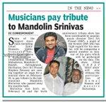 RT @Kollywoodtimes: Musicians pay tribute to Mandolin Srinivas |Source:DC  @ThisIsDSP