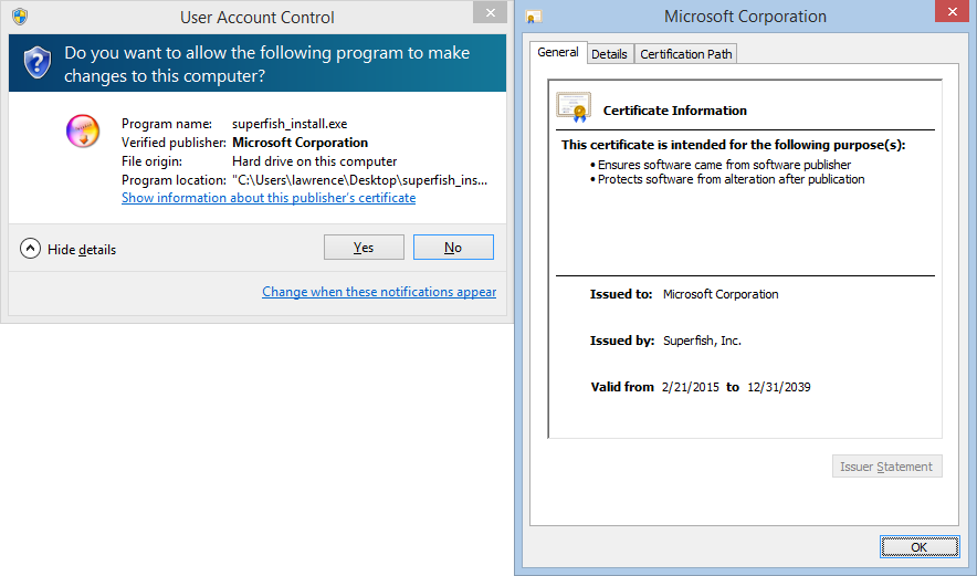 For @hsivonen, some malware Authenticode-signed by a phony Microsoft code-signing cert issued from #Superfish root: http://t.co/QaJ0hprd6u
