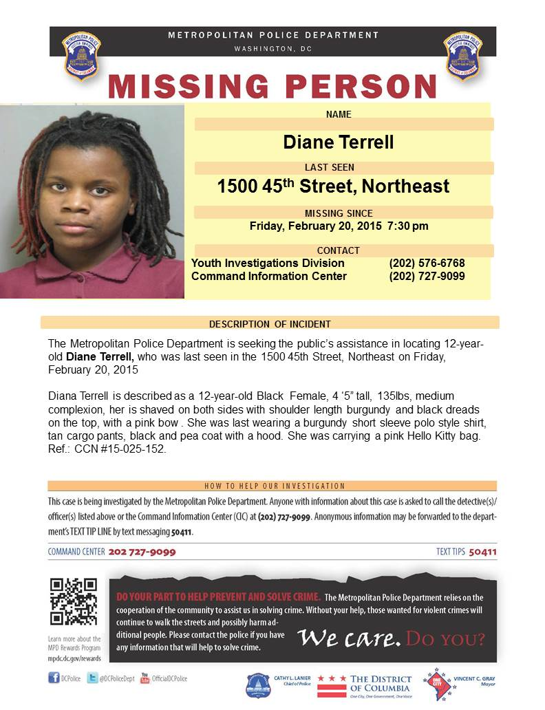 Dc police needs your assistance in the locating missing person – Missing Person Flyer