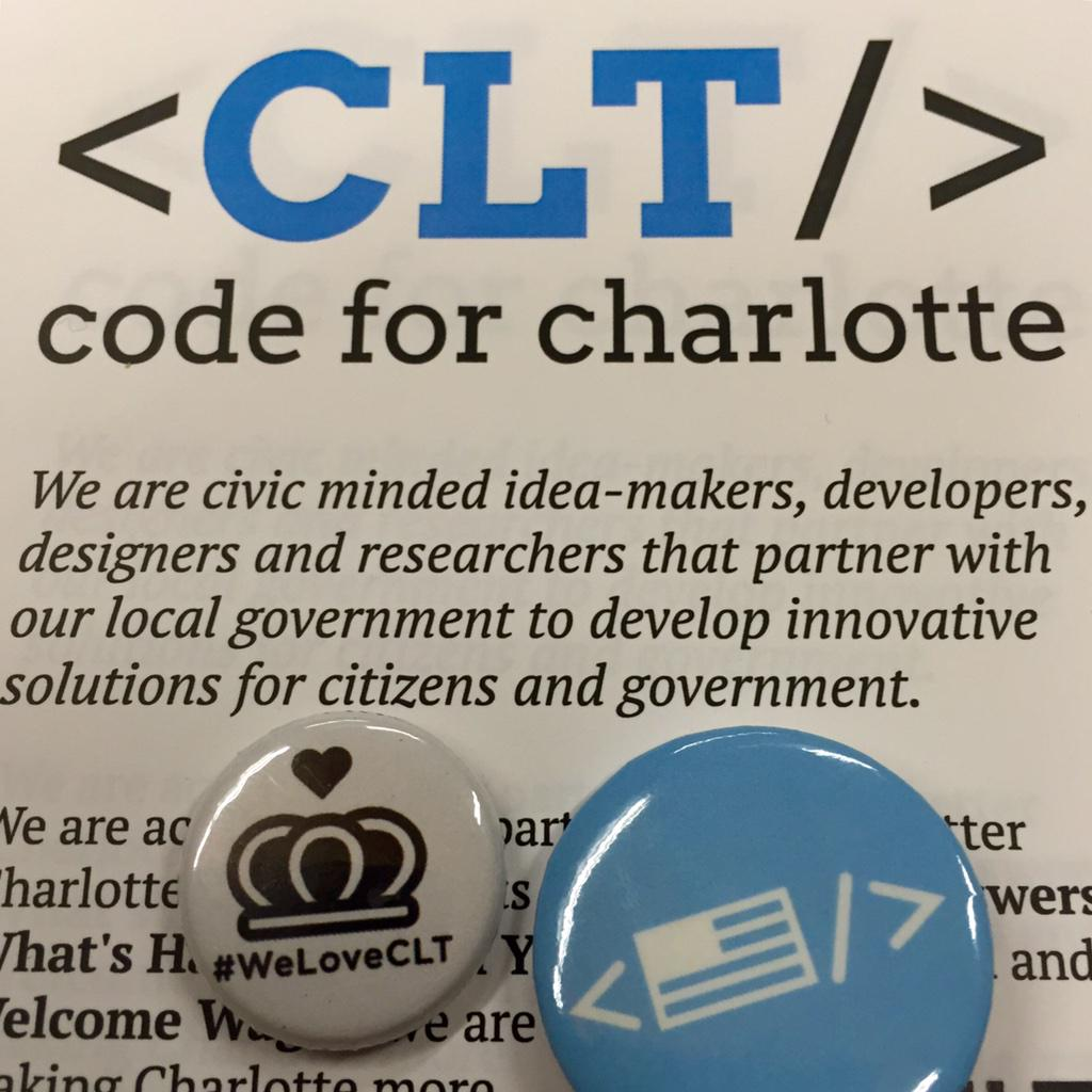 Some @WeLoveCLT button love with @codeforamerica during national #CodeAcross with @CodeForCLT http://t.co/qJl1bSwT7o