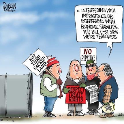 """Yup. #BillC51. """"We're terrorists"""" http://t.co/fEtoq8couK  #indigenous #cdnpoli @JustinTrudeau http://t.co/9OqXodiGTL"""