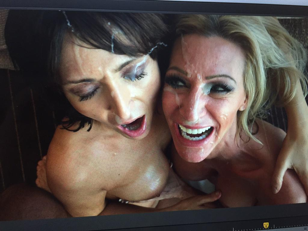 #AmberJane the and a #milf friend get a messy cum facial at the end of this new