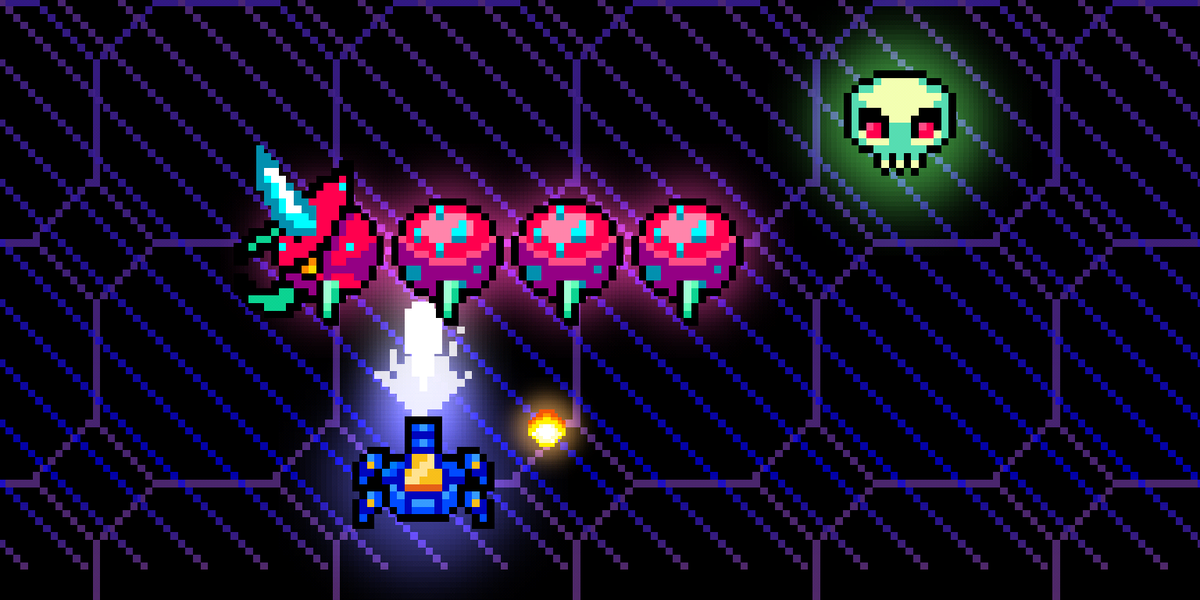 Working on something retro for next mobile game. Wanted to do a nice simple arcade shooter. Fun. #screenshotsaturday http://t.co/FdFezbTxNd