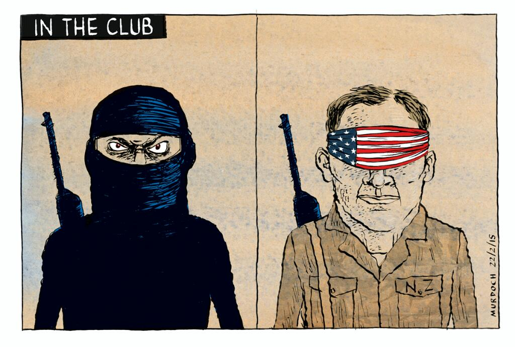 Should NZ be going to #Iraq? #intheclub #ISIS #5eyes. My #Cartoon @SundayStarTimes #nzpols http://t.co/3rtcflrcGN http://t.co/Zx72tZNlpy