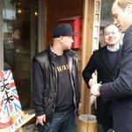 Duke of Cambridge & graffiti artist, Sakimura-san, head of #Onagawa Art Guild. Union Jack & lucky carp #royalvisitjp http://t.co/4ncu6JQVor