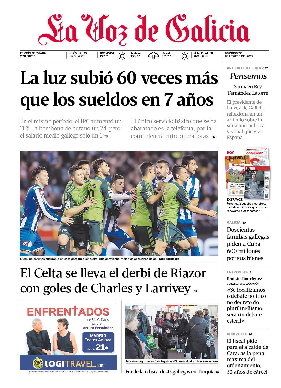 La primera página de La Voz de Galicia de hoy http://t.co/hsevrwaHXL