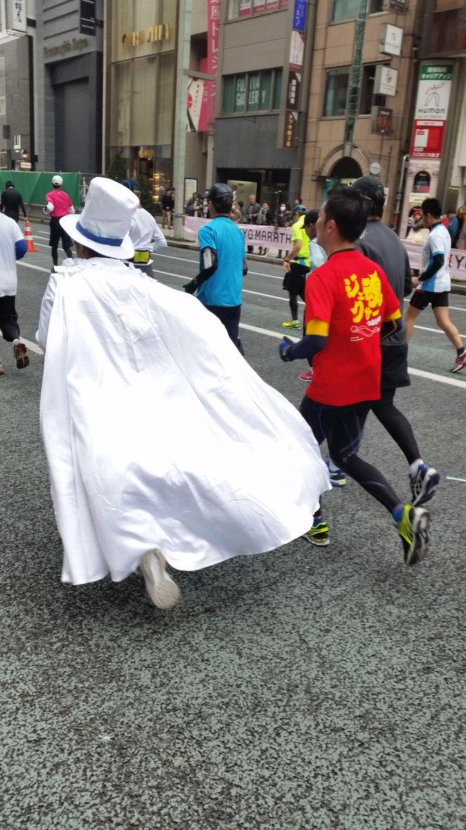 我らが怪盗キッドが、東京マラソンで銀座を駆け抜けて行きました! http://t.co/kYxPyoYuCT