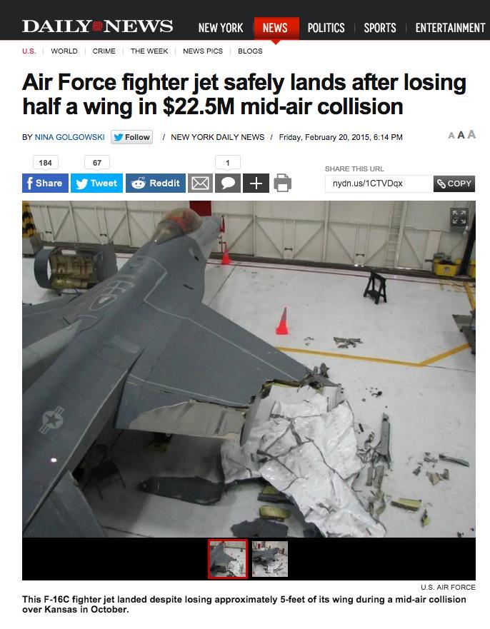 片翼の半分を失いながら生還したF-16 http://t.co/DOgHNpXbqO http://t.co/7A9AjXVaOh