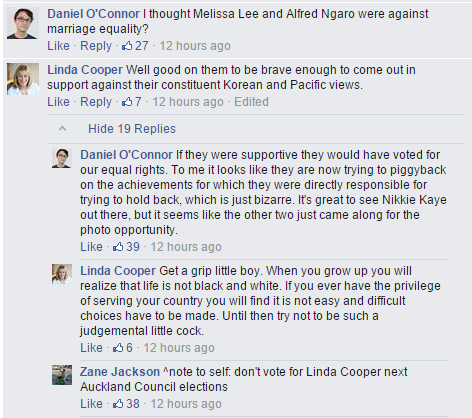 Auckland City Councillor Linda Cooper on the Pride parade page is a good example of how not to use social media. http://t.co/ADAiwtnTjm