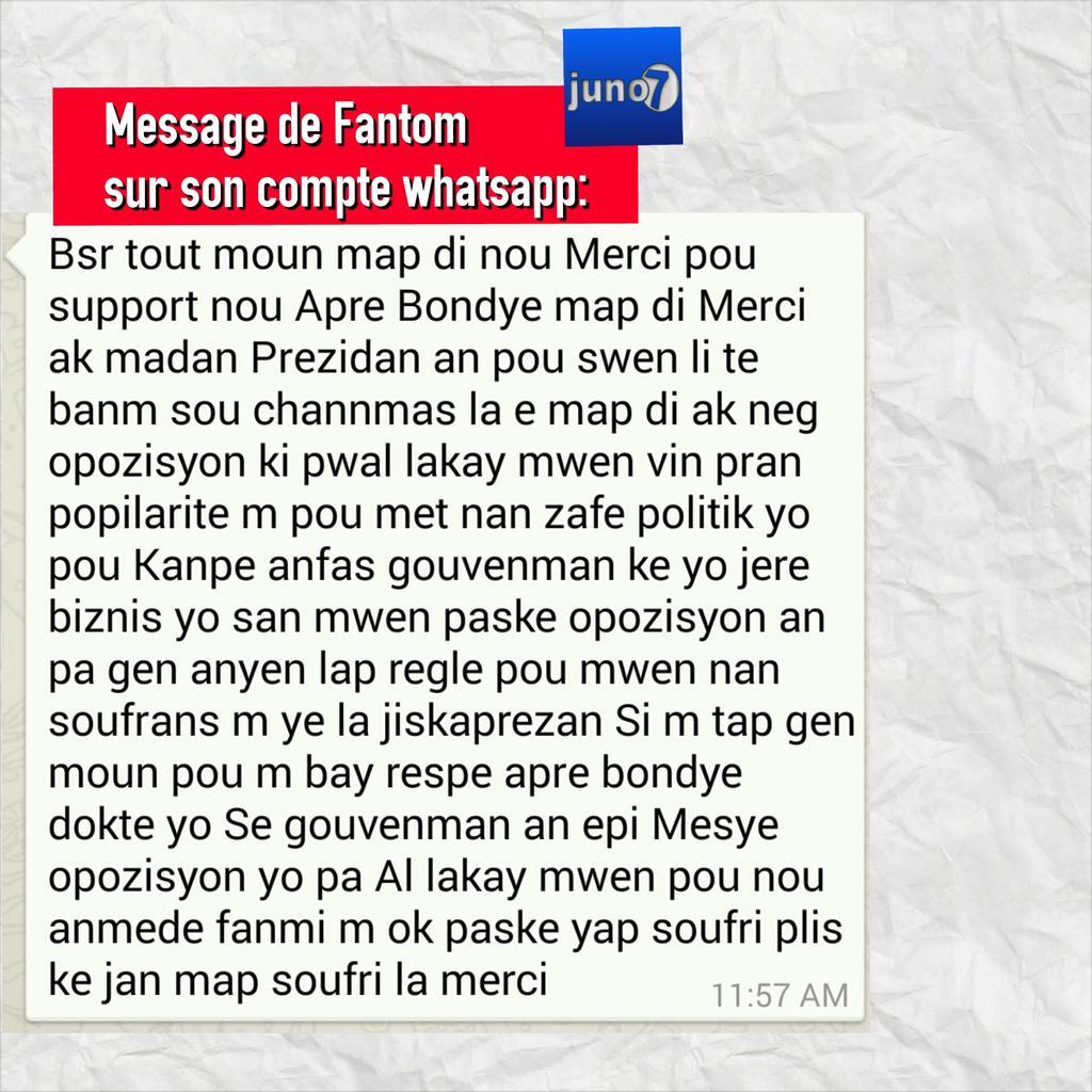 #Fantom mande mesye opozisyon yo pou pa sevi ak popilaritel pou zafè politik yo. Li mande pou yo sispann al lakay li http://t.co/MhLfT3srz6