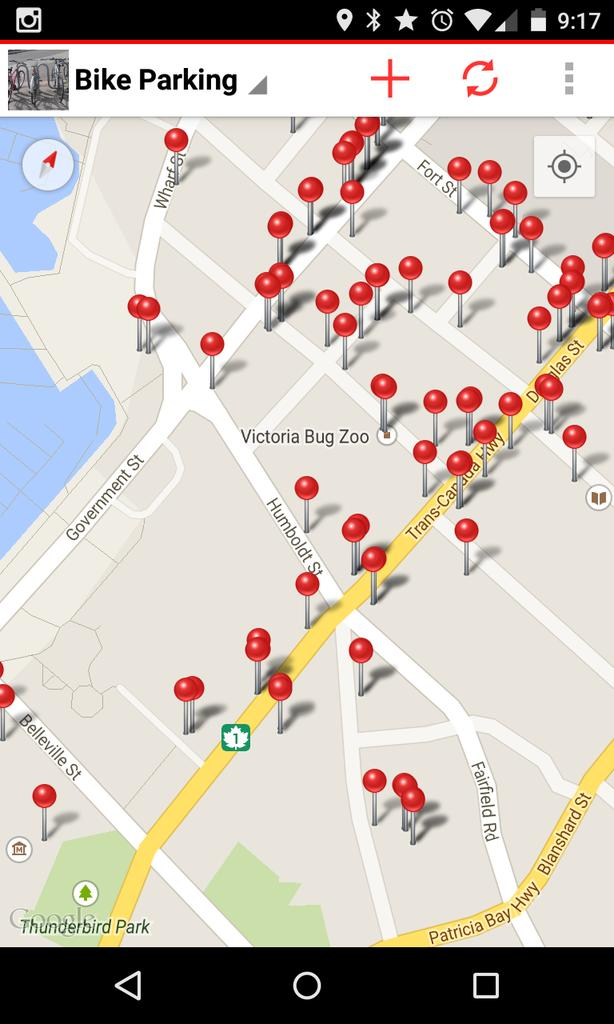 Mapping #yyj bike parking spots with @fulcrumapp on Android using @CityOfVictoria #openData http://t.co/PyQBpKrAqa